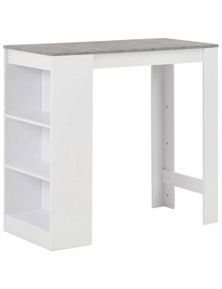 White Bar Table with Concrete Top and Shelves