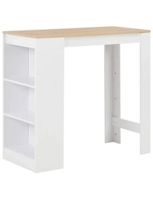 White Bar Table with Wood Top and Shelves