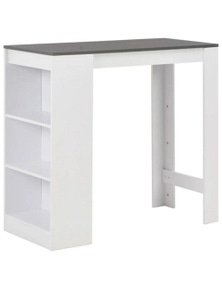 White Bar Table with Shelves and Table Top