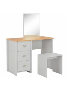 Grey Dressing Table with Mirror and Stool