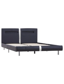 Bed Frame with LED Faux Leather Queen