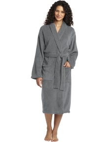 Plush Microfleece Shawl Collar Robe - Charcoal