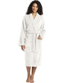 Plush Microfleece Shawl Collar Robe - Off White
