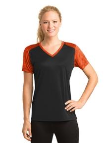 Sport-Tek Ladies CamoHex Colorblock V-Neck Tee