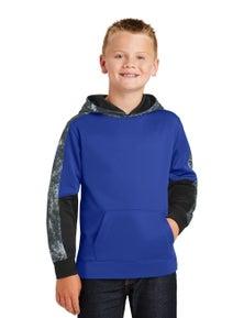 Sport-Tek Youth Sport-Wick Mineral Freeze Fleece Colorblock Hooded Pullover