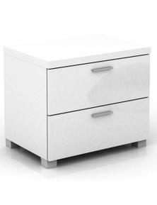 Meubilair Elisha High Gloss 2 Drawer Side Table