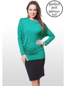 Eve Of Eden Emerald Striped Asymmetric Maternity/Nursing Top
