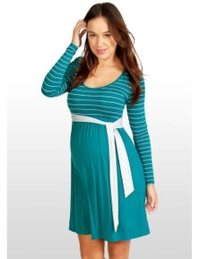 Eve Of Eden Teal & Silver Striped Maternity Dress