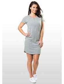 Eve Of Eden Grey Striped Maternity/Nursing T-Shirt Dress
