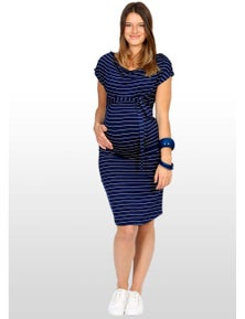 Eve Of Eden Navy And Silver Striped Maternity Dress