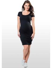 Eve Of Eden Black Cap Sleeve Maternity/Nursing Dress