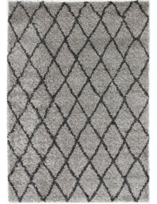 Lumina Diamond Grey Charcoal Shag Rug 240X330