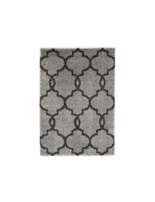 Lumina Lattice Grey Charcoal Shag Rug 240X330