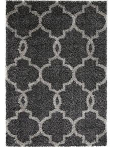 Lumina Lattice Charcoal Grey Shag Rug 240X330
