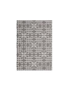 Hawaii Grey Shape Patterned Ikat Rug 80X150