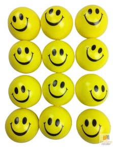 12x YellowSTRESS BALLS Hand Relief Squeeze Toy Reliever Antistress Soft Smiley