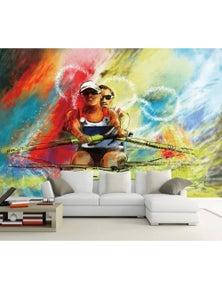 AJ Wallpaper 3D Double Kayaking 1480 Wall Mural Removable Wallpaper Woven Paper