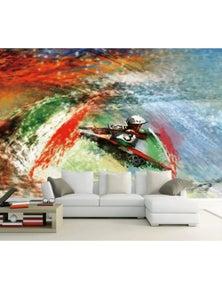 AJ Wallpaper 3D Oil Painting Kayaking 1479 Wall Mural Removable Wallpaper Woven Paper