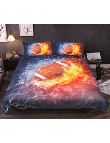 AJ 3D Rugby Burning 138 Bed With Pillowcases Quilt Cover Set
