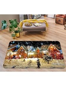 AJ 3D Snow House 55058 Christmas Non Slip Rug Mat Room Mat Quality Elegant Photo Carpet Xmas