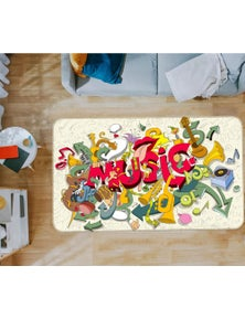 AJ 3D Musical Instrument 37067 Non Slip Rug Mat Room Mat Quality Elegant Photo Carpet