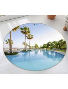AJ 3D Swimming Pool Coconut Tree 74147 Round Non Slip Rug Mat Room Mat Quality Elegant Photo Carpet