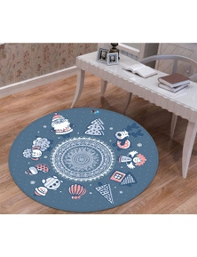 AJ 3D Tree Deer Santa Claus 66007 Christmas Round Non Slip Rug Mat Room Mat Quality Elegant Photo Carpet Xmas
