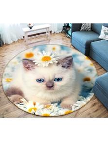 AJ 3D Kitten 29011 Round Non Slip Rug Mat Room Mat Quality Elegant Photo Carpet