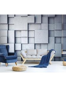 AJ Wallpaper 3D Rugged Gray Brick Wc558 Wall Murals Woven Paper Wallpaper