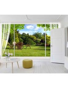 AJ Wallpaper 3D Curtain Garden 015 Wall Murals Self-Adhesive Vinyl Wallpaper