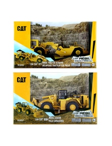Cat 2Pc 1:64 Diecast 611 Wheel Tractor Scraper and 988H Wheel Loader