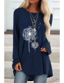 Navy Floral Print Knit Tunic Top