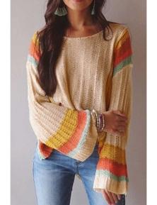 Apricot Colorblock Bell Sleeve Lightweight Sweater