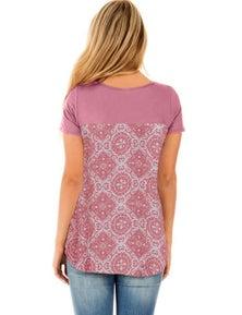 Pink Criss Cross Neck Retro Floral Print Back Tee