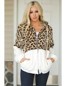 White Leopard Color Block Sherpa Zip Up Coat