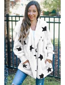 White Lapel Collar Scatter Star Fuzzy Coat