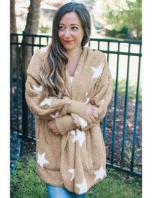 Khaki Lapel Collar Scatter Star Fuzzy Coat