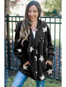Black Lapel Collar Scatter Star Fuzzy Coat
