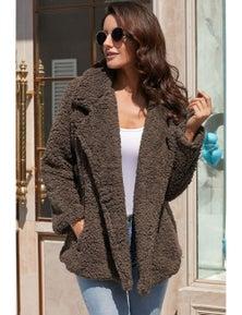 Coffee Fleece Open Front Coat with Pockets