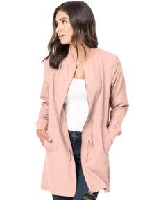 Pink Drawstring Waist Lightweight Outcoat