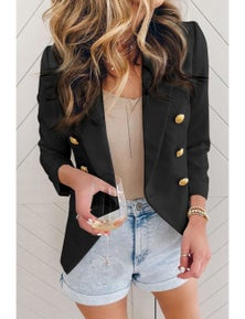 Black Double Breasted Long Sleeve Novelty Button Blazer