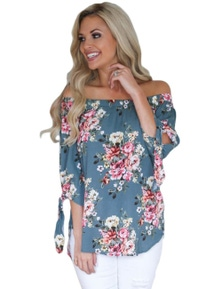 Sage Blue Floral Elastic Off Shoulder Top