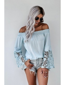 Light Blue Off Shoulder Crochet Hem Top