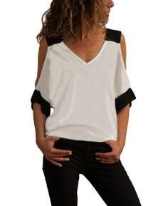 White Black Color Block Cold Shoulder Top