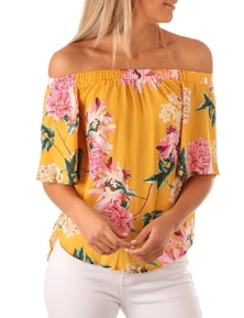 Yellow Floral Print Half Sleeve Off Shoulder Blouse