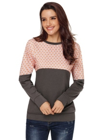 Snowflake Patchwork Grey Long Sleeve Sweatshirt