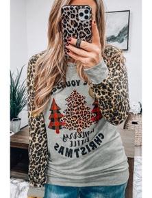 Gray Leopard Sleeves Christmas Tree Print Top