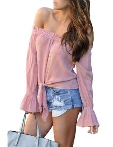 Pink Elastic Off Shoulder Tie Front Bell Sleeve Top