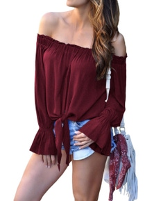 Burgundy Elastic Off Shoulder Tie Front Bell Sleeve Top