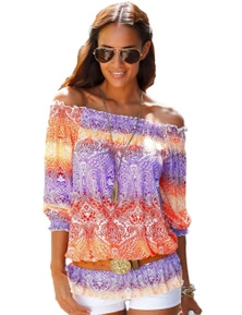 Color Block Gypsy Off Shoulder Half Sleeve Blouse